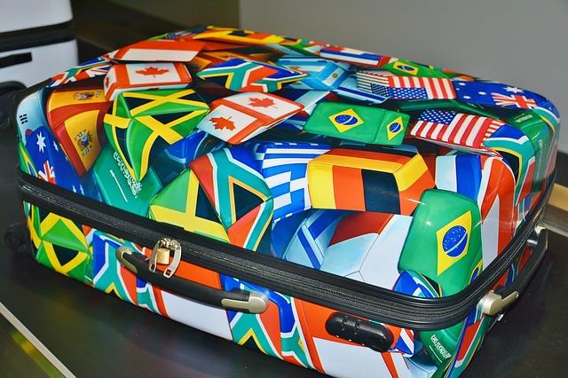 strakatý kufr