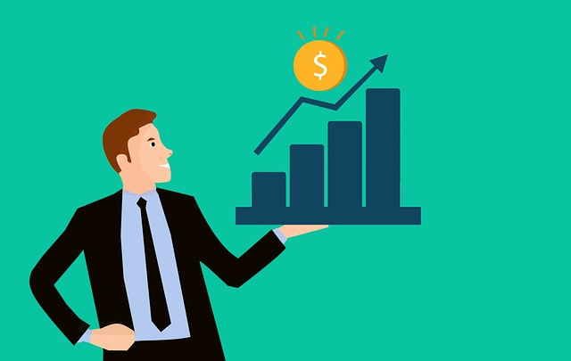 kreslená postavička podnikatele má díky získaným financím úspěch