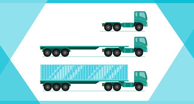 ilustrace různých typů nákladních automobilů